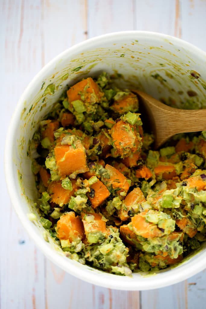 Sweet Potato Salad with Avocado Aioli| vegan, gluten-free