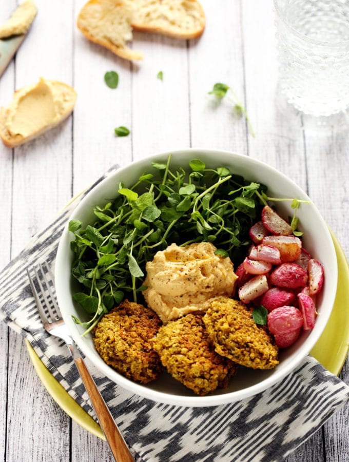 Green Pea Patty, Roasted Radish & Lemony Hummus Bowl