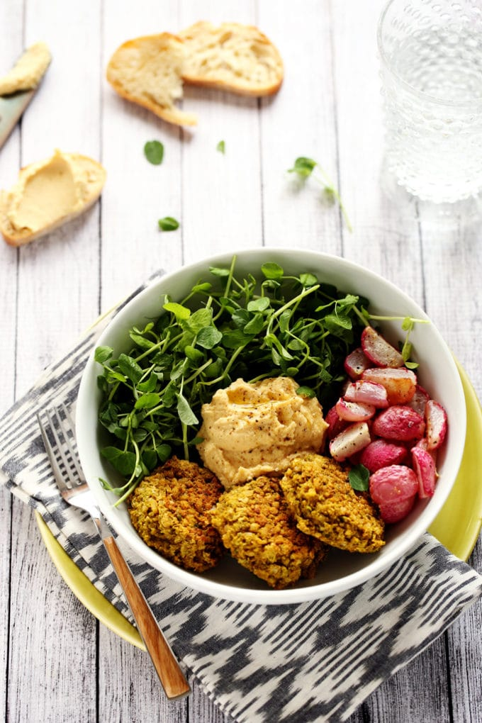Green Pea Patty, Roasted Radish & Lemony Hummus Bowl | A protein-packed vegan and gluten-free spring meal!