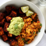 Spicy Cauliflower Rice, Cinnamon-Paprika Sweet Potatoes & Avocado Mash