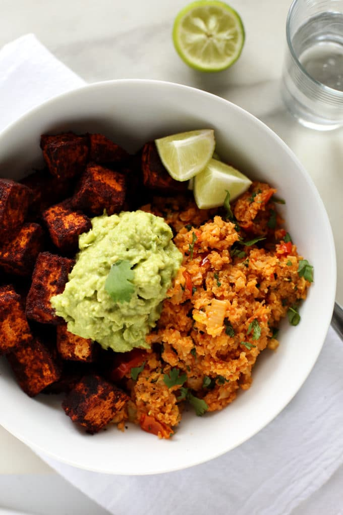Spicy Cauliflower Rice, Cinnamon-Paprika Sweet Potatoes & Avocado Mash | A quick, easy, and delicious vegan meal!