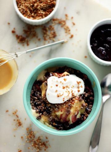 Hot Tahini Sundae with Banana Ice Cream, Cherry Compote & Sunflower Crumble | A decadent vegan sundae!