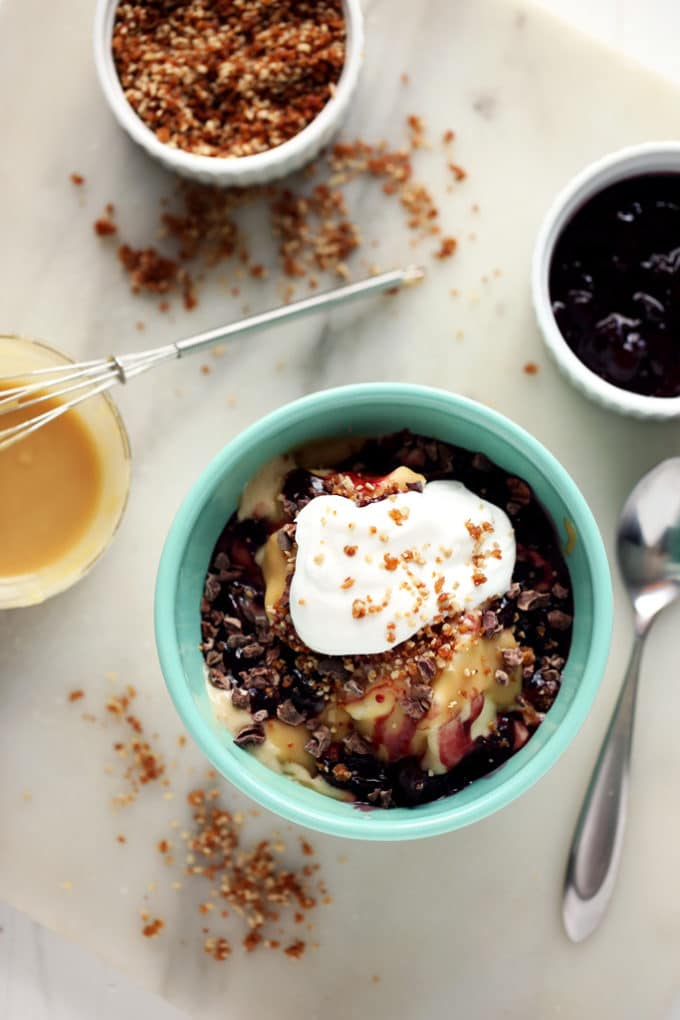 Hot Tahini Sundae with Banana Ice Cream, Cherry Compote & Sunflower Crumble   A decadent vegan sundae!