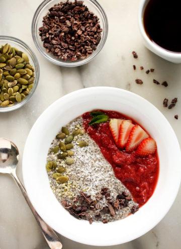 Strawberry-Rhubarb & Coconut Chia Pudding Breakfast Bowl | An energizing vegan and gluten-free breakfast!