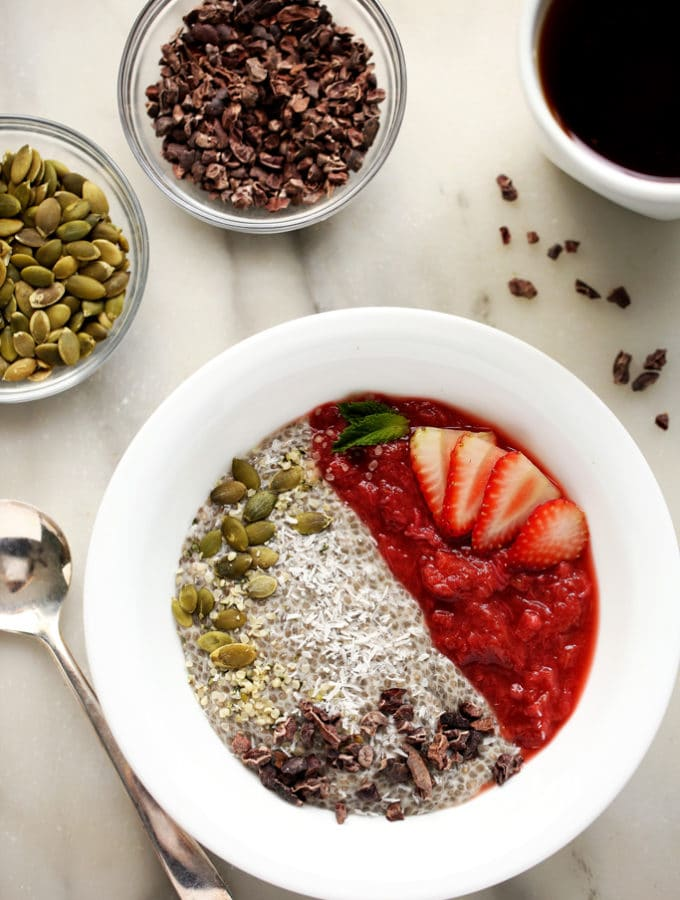 Strawberry-Rhubarb & Chia Pudding Breakfast Bowl
