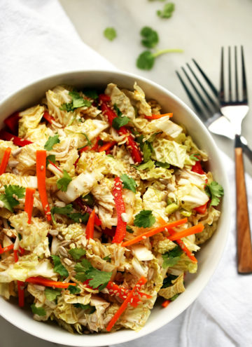 Napa Cabbage Salad with Sweet Tamari-Sesame Dressing | A crisp, refreshing, and addictive salad with a crunch of refreshing veggies!