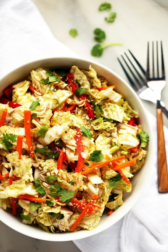 Napa Cabbage Salad With Sweet Tamari Sesame Dressing Blissful Basil