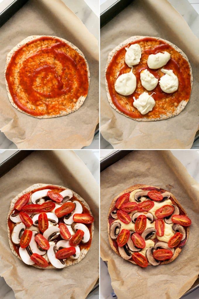 Personal Vegan Tortilla Pizza with Homemade Mozzarella, Mushrooms, Tomatoes, & Basil