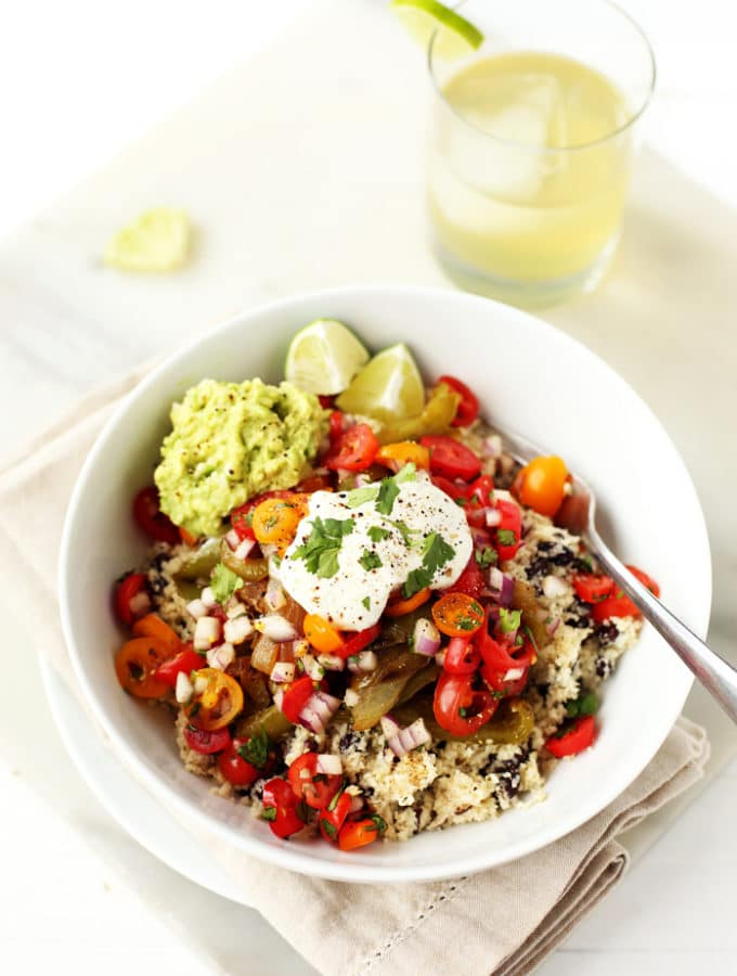 Vegetable Burrito Bowls with Cauliflower Rice & Sunflower Sour Cream (vegan, gf)