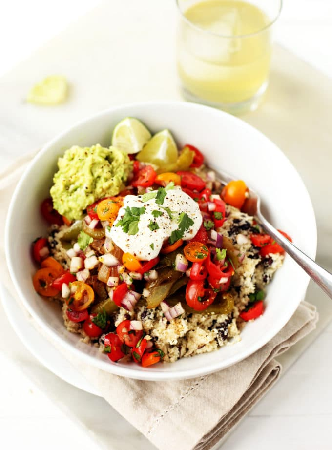 Vegetable Burrito Bowls with Cauliflower Rice | vegan, gluten-free, paleo