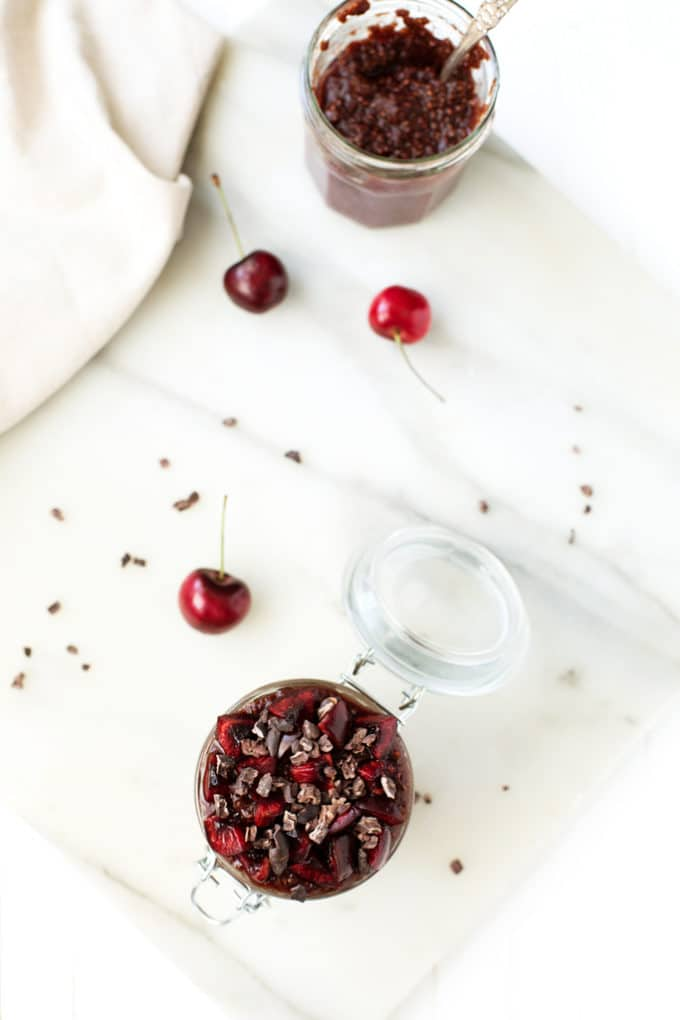Chocolate Cherry Chia Pudding Parfaits