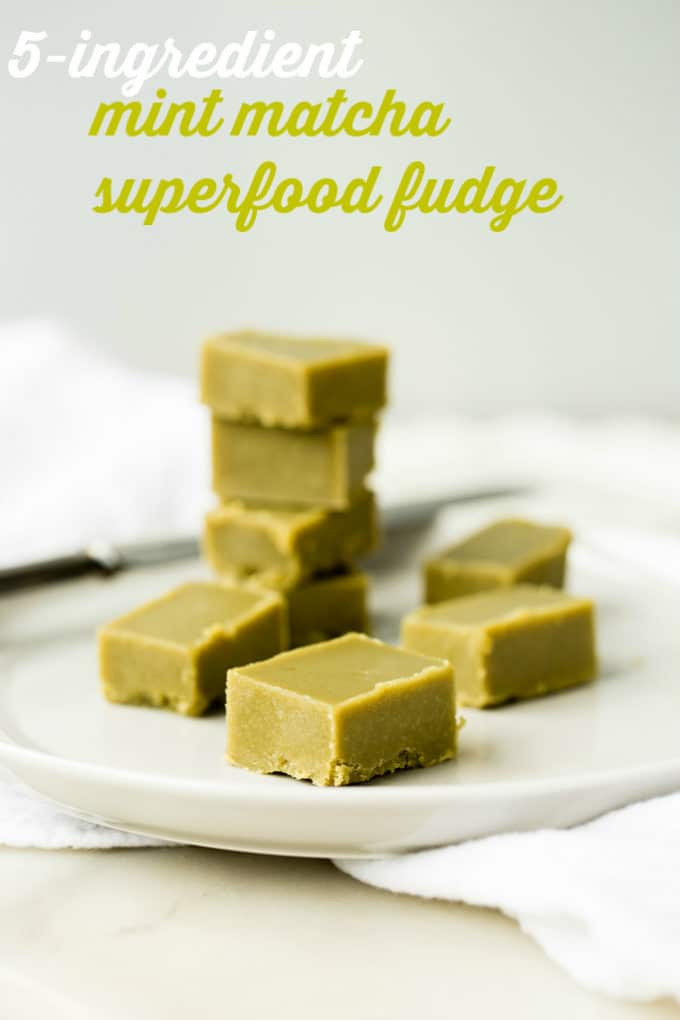 5-Ingredient Mint Matcha Superfood Fudge | vegan, gluten-free, paleo