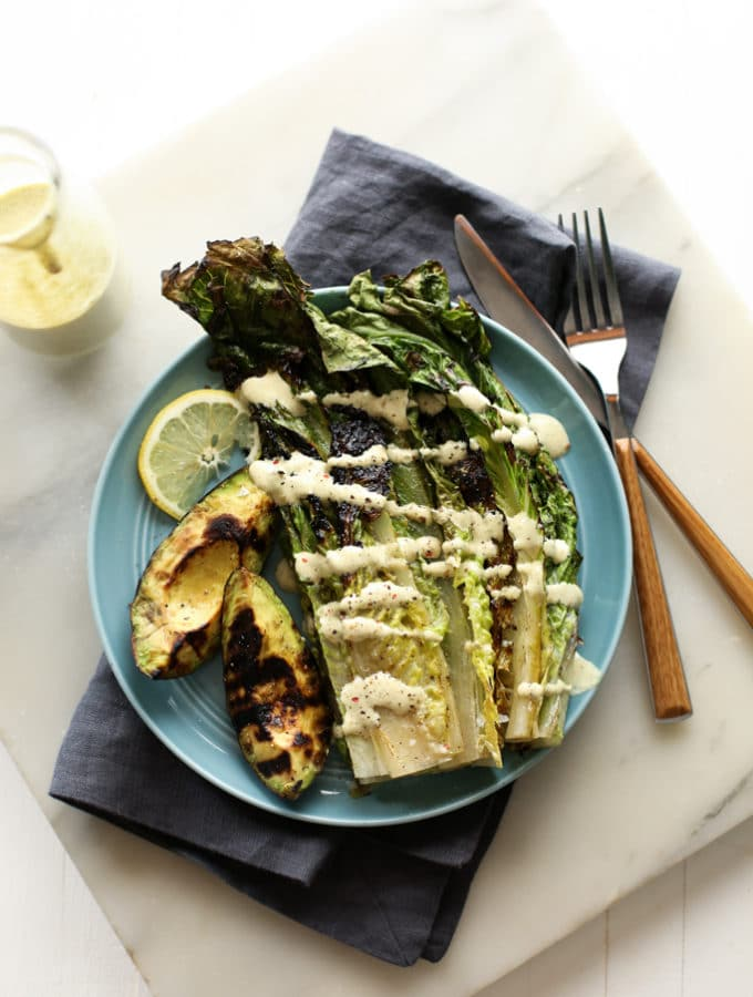 Grilled Avocado and Romaine Caesar Salad | A vegan and gluten-free summer salad!