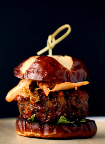 Simple Korean Kimchi BBQ Burgers from Mastering the Art of Vegan Cooking