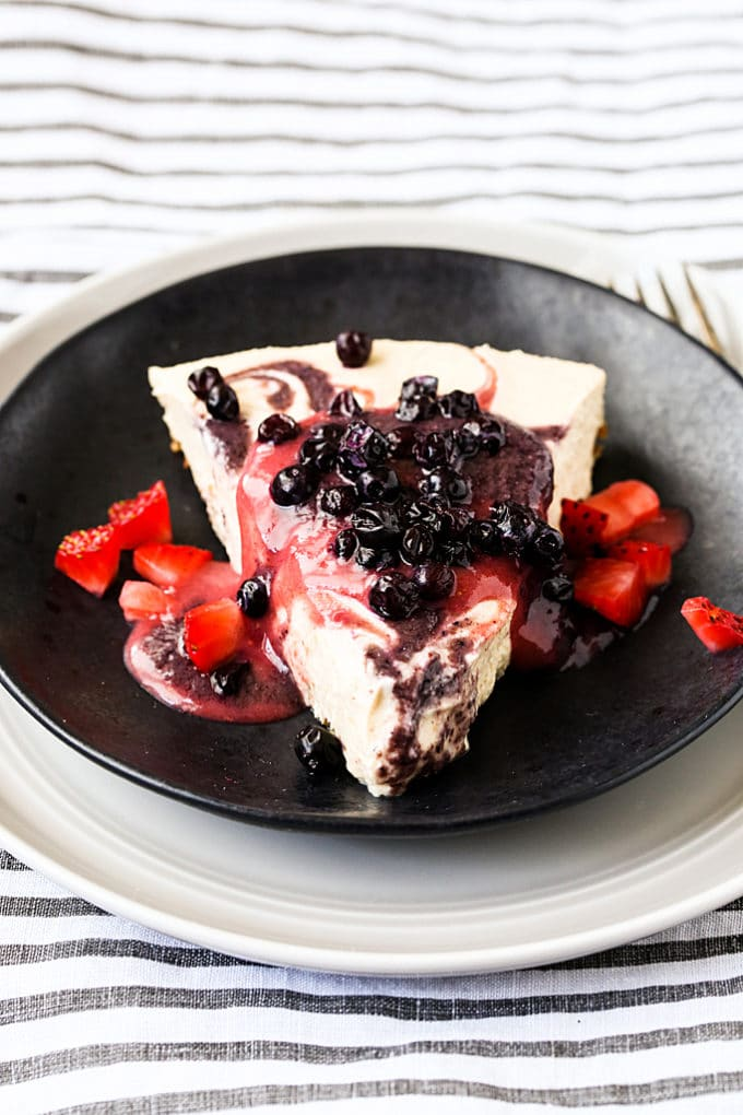 Raw Vegan Strawberry and Blueberry Swirl Cheesecake with Crisp Pecan Crust