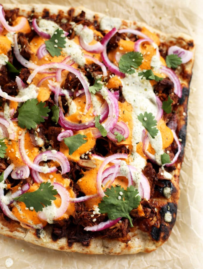 Vegan BBQ Jackruit Pizza with Hemp Seed Cheddar and Ranch