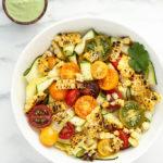 Summer Squash Ribbon Salad with Grilled Corn, Heirloom Cherry Tomatoes + Creamy Cilantro-Pepita Dressing