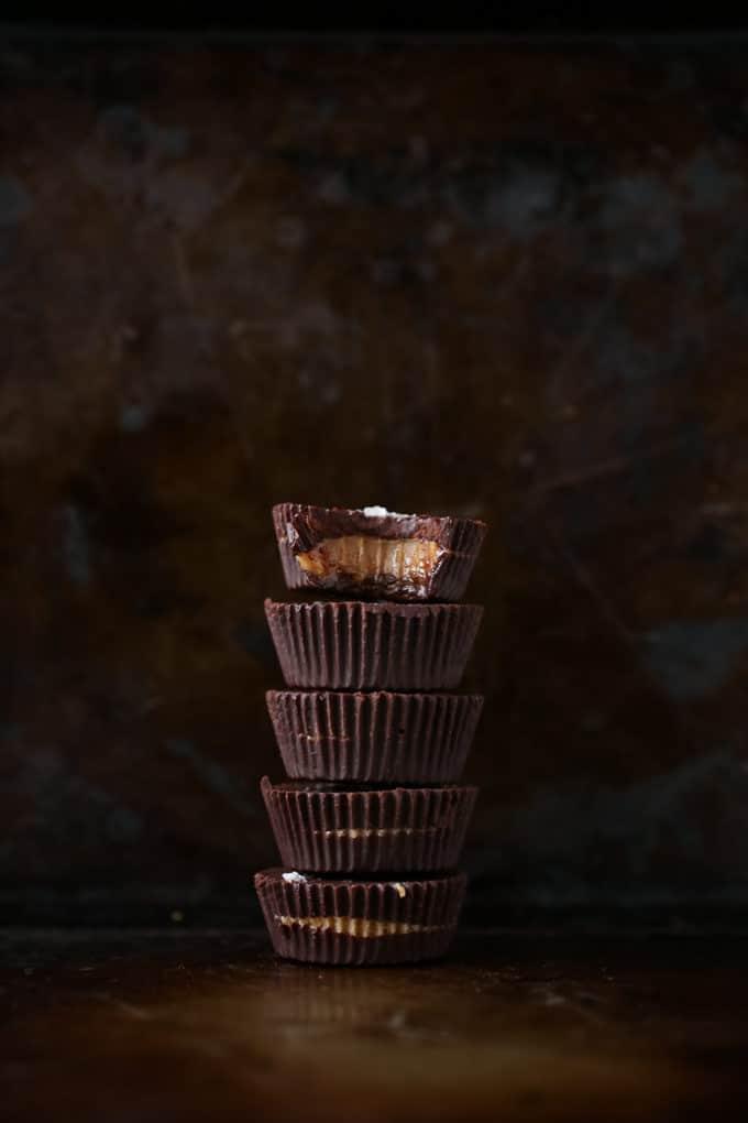 Jumbo Peanut Butter Caramel Dark Chocolate Cups | vegan, refined-sugar-free, gluten-free