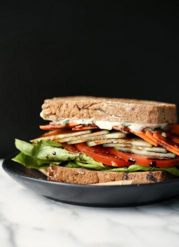 Toasted Vegan Veggie Crunch Sandwich with Tzatziki & Balsamic Drizzle