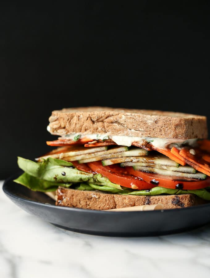 Toasted Vegan Veggie Crunch Sandwich with Tzatziki & Balsamic Drizzle