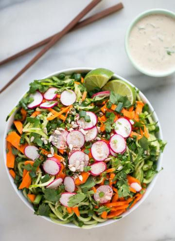 Quick Cucumber Noodle Salad with Creamy Tahini-Lime Dressing