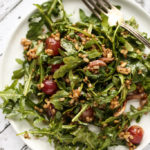 Arugula, Brown Rice & Roasted Grape Salad with Balsamic-Thyme Vinaigrette