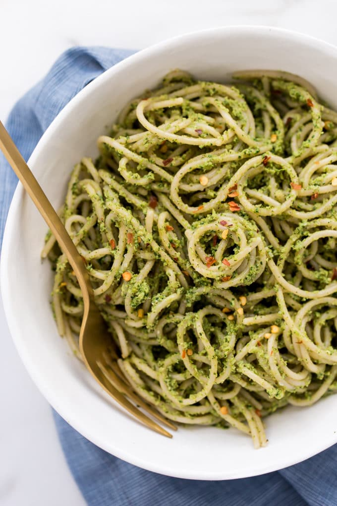 Roasted Broccoli-Pepita Pesto Pasta | Vegan, Gluten-Free