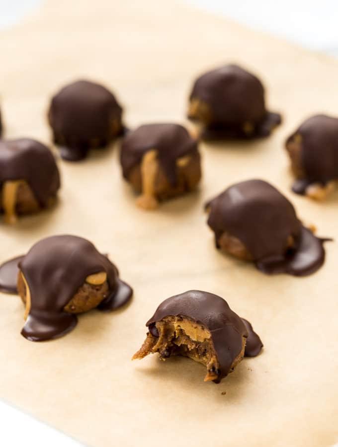 Peanut Butter Cacao Crunch Date Caramel Truffles