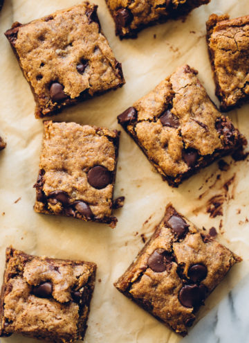 Almond Butter Chocolate Chip Cookie Bars | Vegan, Gluten-Free