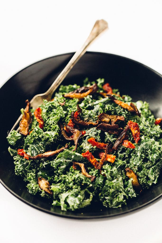 Marinated Kale Caesar Salad with Crispy Shiitake Bacon | Vegan
