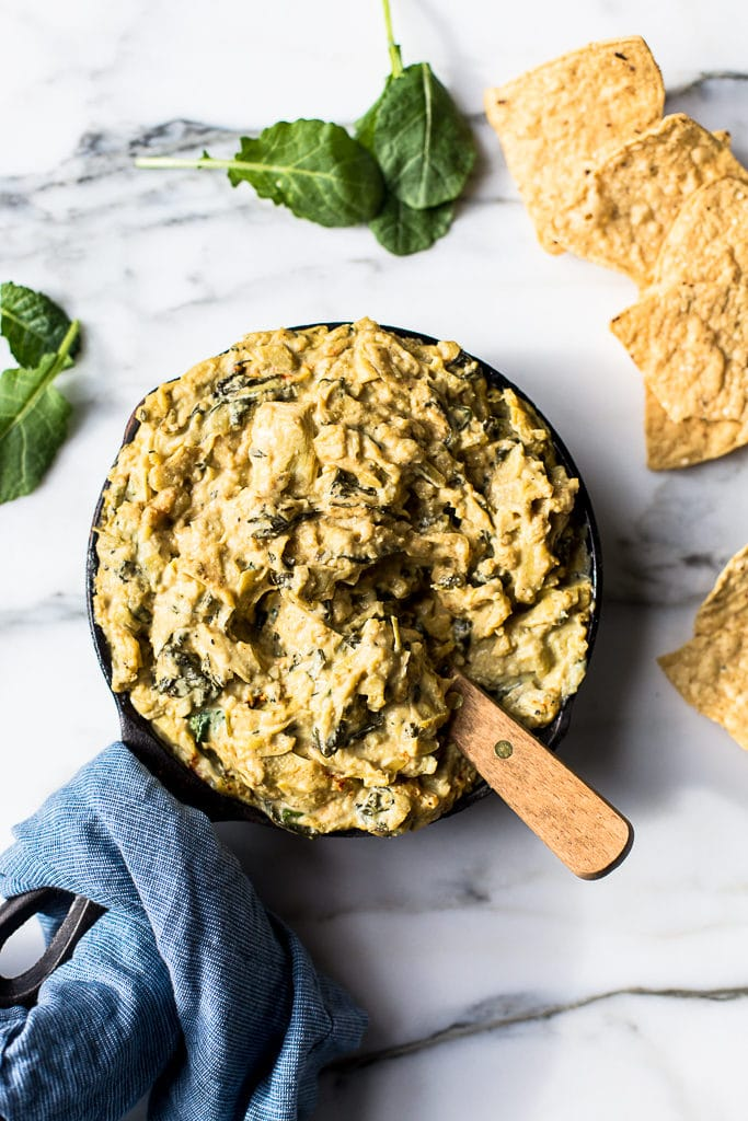 Warm Vegan Kale and Artichoke Dip Crossroads Kitchen by Tal Ronnen