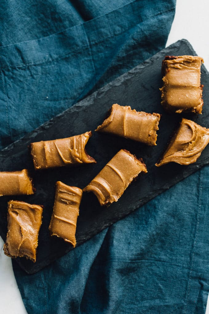 Raw Vegan Brownies with Peanut Butter Caramel Frosting