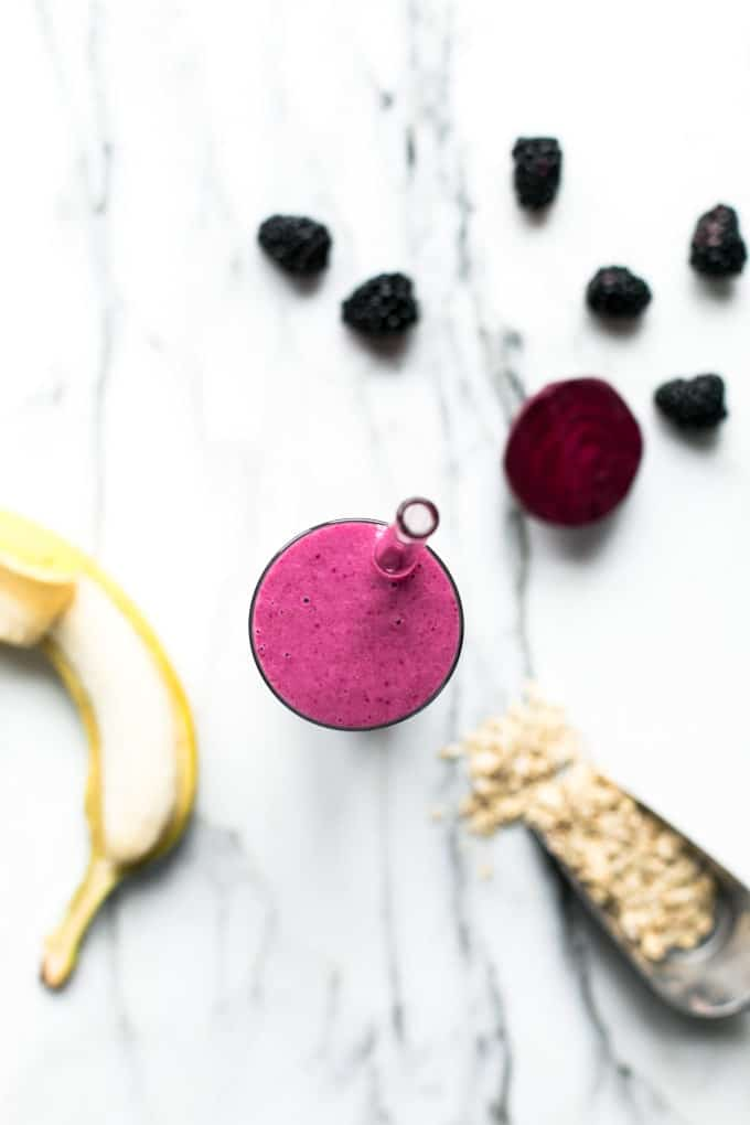 Pretty Pink Beet, Blackberry and Oat Smoothie