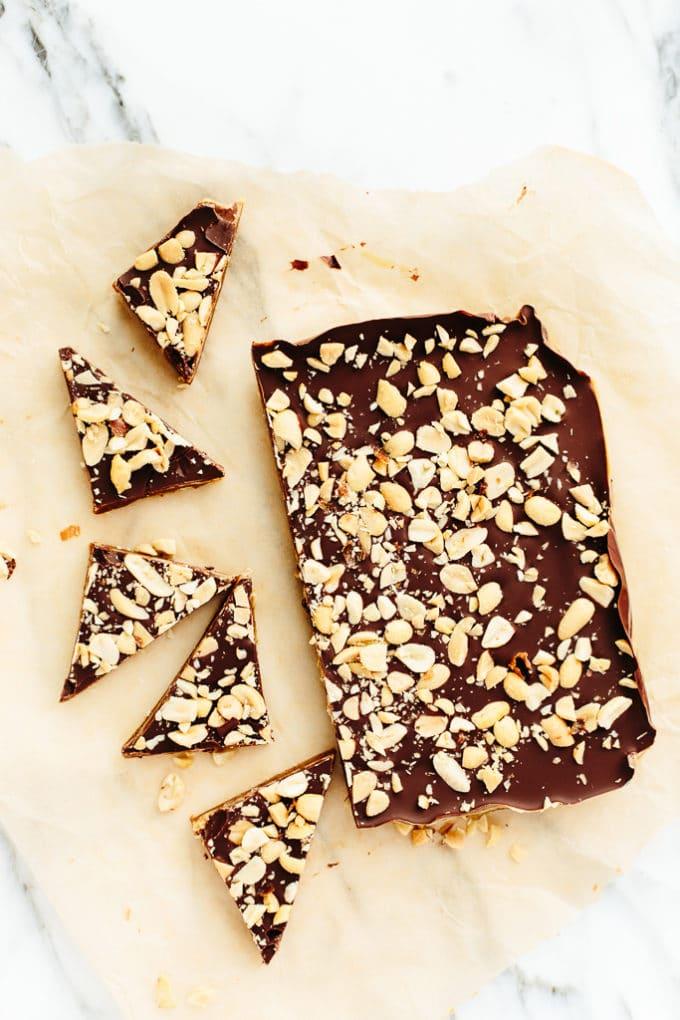Vegan Peanut Butter Caramel Snickers Bark