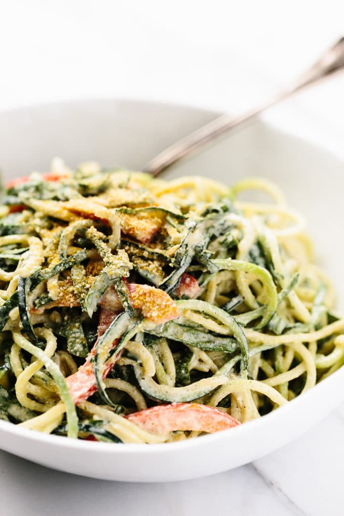 Raw Vegan Power Zucchini Pasta with Hemp Seed Alfredo