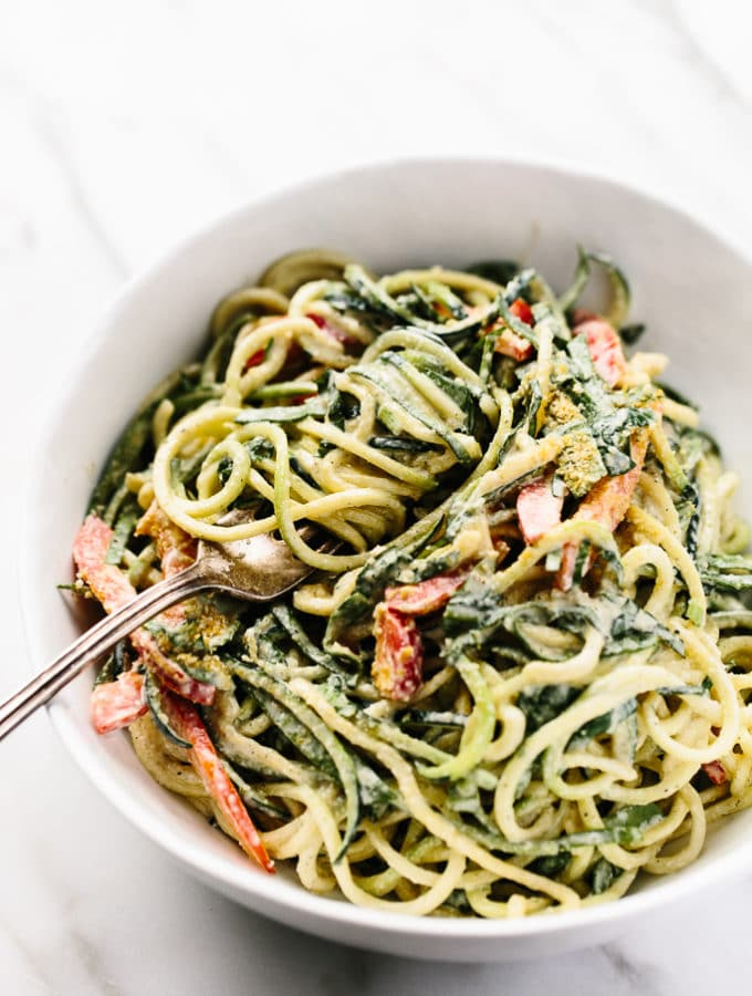 Raw Power Zucchini Pasta with Hemp Seed Alfredo Sauce