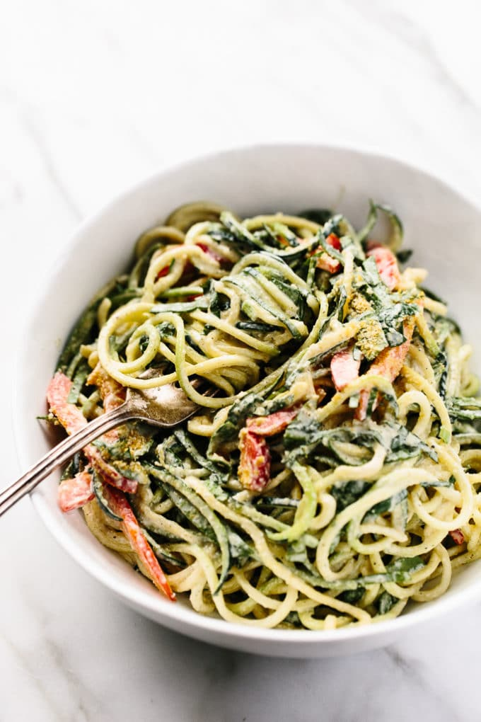Raw Power Zucchini Noodles with Hemp Seed Alfredo | vegan, gluten-free