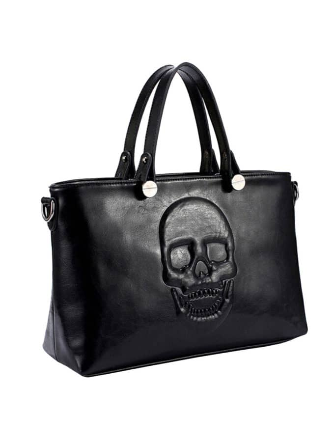 Mechaly Black Skully Vegan Leather Bag