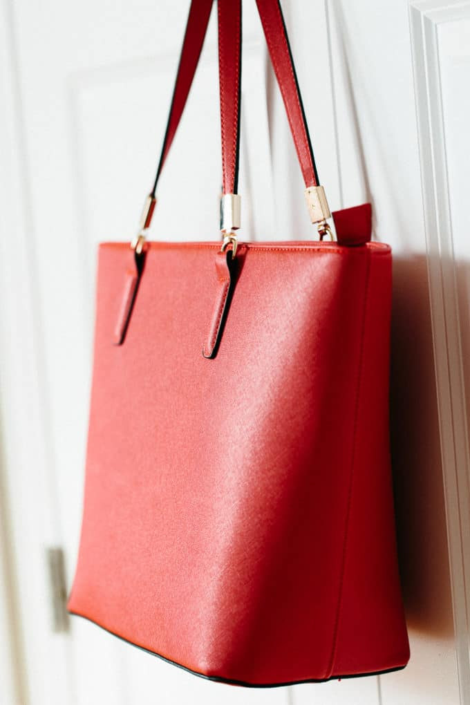 Mechaly Sydney Red Vegan Leather Tote Handbag