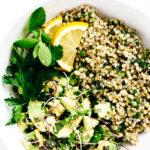 Green Goddess Revitalization Bowl with Herbed Buckwheat, Avocado & Microgreens