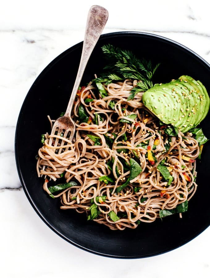 Soba Noodles with Carrot Ribbons and Miso Glaze from This Rawsome Vegan Cookbook by Emily von Euw