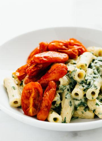 Zesty Cilantro Cream Pasta with Roasted Paprika Tomatoes (Vegan)