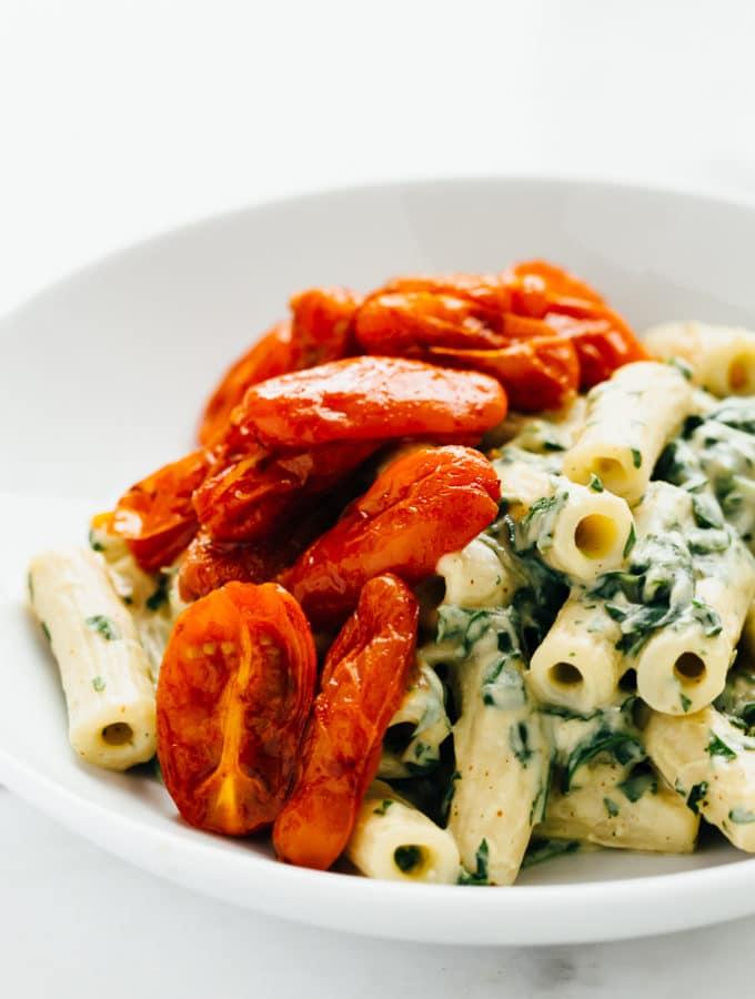 Zesty Vegan Cilantro Cream Pasta with Roasted Paprika Tomatoes