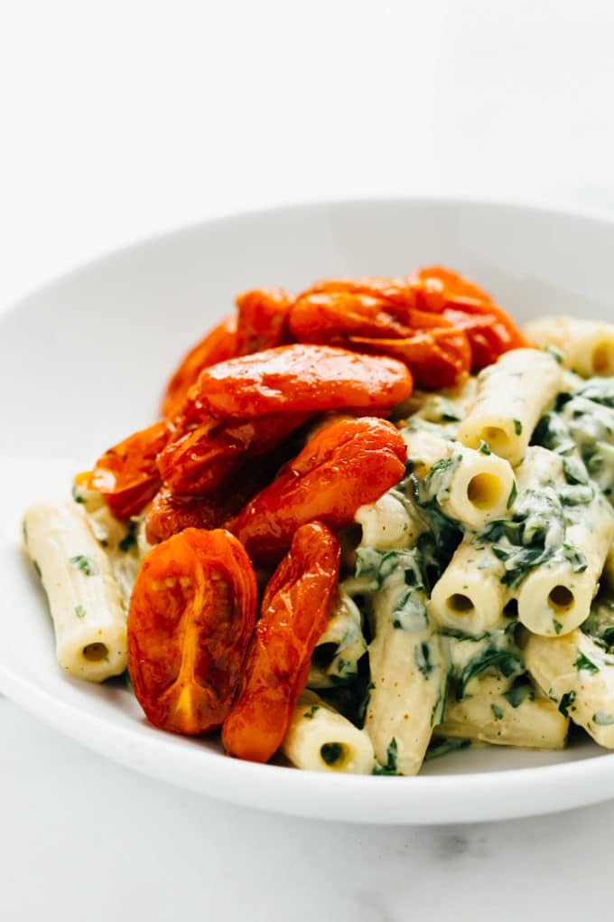 Zesty Cilantro Cream Pasta with Roasted Paprika Tomatoes (Vegan)