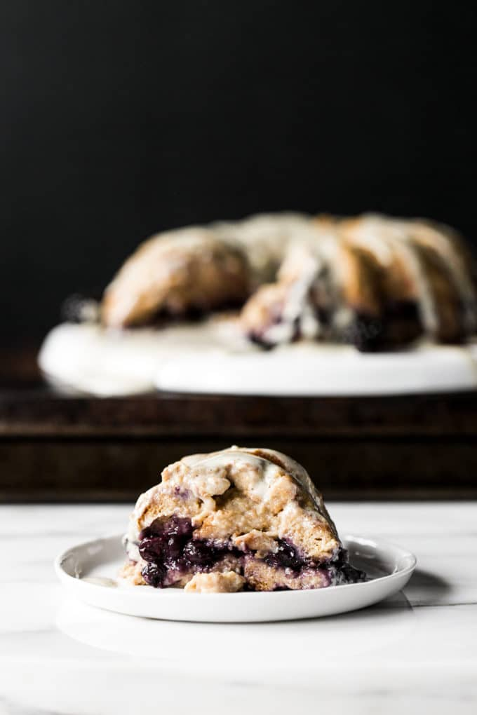 Blueberry Bread Pudding Breakfast Cake with Vanilla-Hemp Anglaise | Vegan
