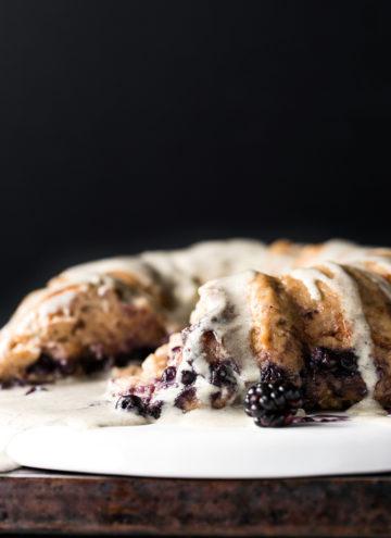 Blueberry Bread Pudding Breakfast Cake with Vanilla-Hemp Anglaise | Vegan