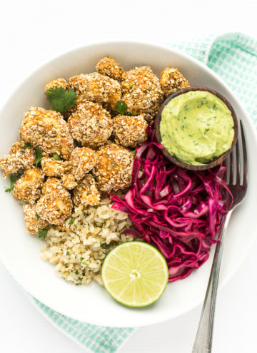 Crispy Cauliflower Power Bowls with Cilantro-Lime Brown Rice