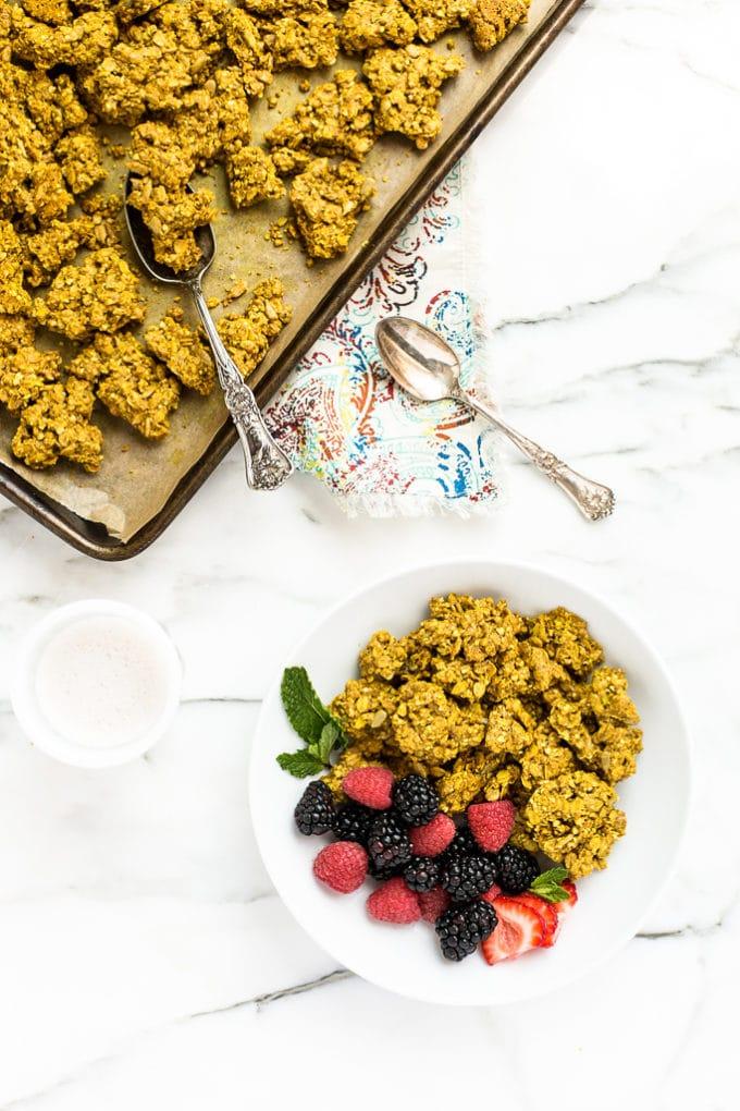 Golden Turmeric Granola Clusters | Vegan & Gluten-Free