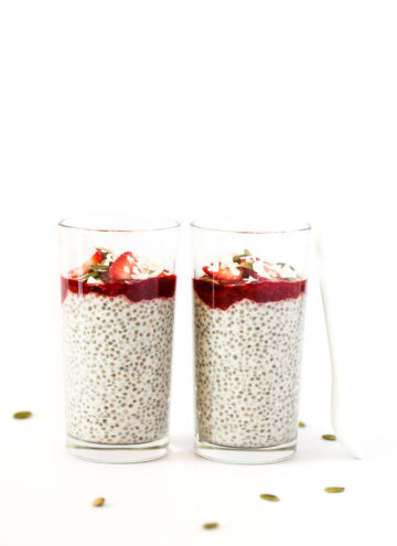 Coconut Yogurt Chia Seed Pudding Parfaits with Strawberry Jam | Vegan