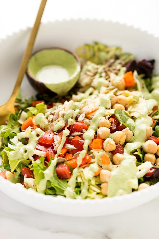 Epic Plant-Powered Chopped Salad with Creamy Basil Ranch | Vegan